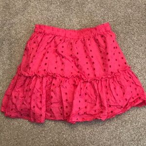 ASOS bright pink eyelet fit and flare skirt